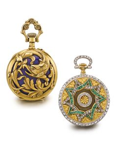 LeCoultre And Swiss - Two Yellow Gold Open Faced Watch, First Pierced Case Back With A Bird's Head And Foliage, Second Case Back With Engraved Decoration, Interlacing Star Design Set With Diamonds And Emeralds     c. 1890   -   Sotheby's