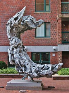 Athena (1988), Sculpture by Judith Brown & Jeffrey Sass, courtyard of River Court, #CambridgeMA. DiscoverEastCambridge.com