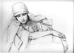 David Malan:A pencil drawing done from a Mucha photograph.