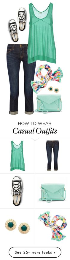 """Watercolor Casual"" by stacylynnwill on Polyvore featuring Current/Elliott, By Malene Birger, Converse, Kate Spade and Apt. 9"