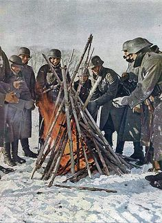 German troops trying to keep warm