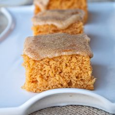 Pumpkin Angel Food Cake Bars with Pumpkin Spice Glaze   MyRecipes.com