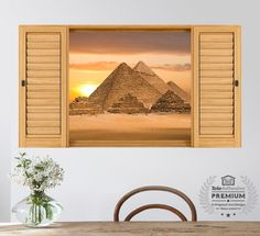 Vinyl panoramic window Pyramids of Giza \(Egypt\). The famous pyramids of Keops, Kefrén and Micerino, ideal for decorating your home. Window Wall, Wall Stickers, Walls, Windows, Home Decor, Special Effects, Vinyls, Pictures, Wall Decals