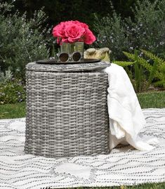 51 Outdoor Side Tables That Will Add Convenience To Your Outdoor Experience Metal Outdoor Side Table, Wicker Side Table, Wicker Dining Set, Wicker Coffee Table, Patio Side Table, White Wicker Patio Furniture, Outdoor Furniture, Patio Storage, Outdoor Storage