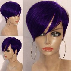 Shop for Purple Short Inclined Bang Layered Straight Synthetic Wig online at $15.18 and discover fashion at RoseGal.com Mobile