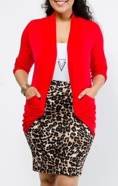 Red White Gold Leopard Print Outfit Plus sizes – Stylish & Trendy Plus size clothing Trendy Plus Size Clothing, Plus Size Outfits, Plus Size Fashion, Funky Clothing, Woman Clothing, Look Plus Size, Plus Size Women, Vestidos Plus Size, Mode Plus