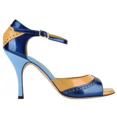 Bandolera Tango Shoes Vernice blu - senape - azzurro