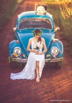 Noiva com Fusca Azul
