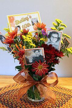 DIY floral photo centerpiece