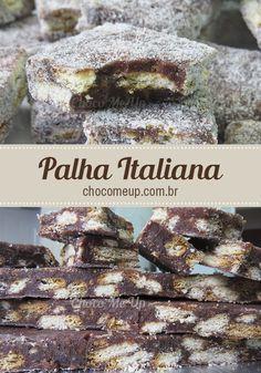 Receita de palha italiana. Esse doce é tão bom quanto brigadeiro! São quadradinhos super macios de chocolate com pedaços de biscoito. ♥ #receita #chocolate #receitadepalhaitaliana #palhaitaliana #biscoito #sobremesa #doce #receitafácil #receitarápida
