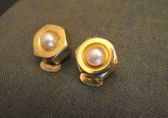 MOSCHINO Jewelry Gold Tone Faux Pearls Clip On EARRINGS Marked Moschino. | eBay