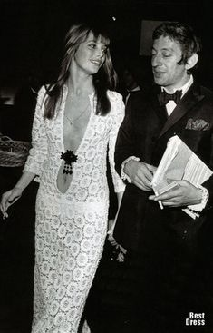 Jane Birkin in a 1969 Emilio Pucci crochet gown, accompanied by Serge Gainsbourg.