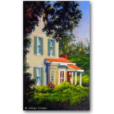 Historic southern home & garden house original oil painting on canvas by artistjillian, $115.00 https://www.etsy.com/listing/163725272/historic-southern-home-garden-house?
