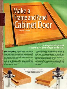 Building Cabinet Doors - Cabinet Door Construction Making Cabinet Doors, Building Cabinet Doors, Cabinet Fronts, Built In Cabinets, Router Bits, Furniture Plans, Woodworking Plans, Wood Projects, Workshop