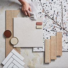 Modern Retro Kitchen, Scandinavian Home Interiors, Material Board, Creative Hub, Tadelakt, Wall And Floor Tiles, Interior Design Tips, Minimal Design, Warm Browns
