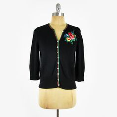 $99 LUCKY BRAND vtg 50s FLORAL EMBROIDERED wool button up cardigan sweater top L $24.99