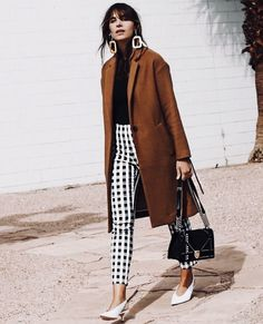 Accessorize in winter, statement pants, checkered pants outfit, statement earring outfit, fall style, fall outfit idea, winter outfit idea how to accessorize