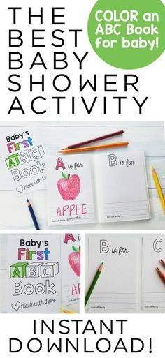 ABC Book Template DIY Baby Shower Activity Alphabet Color Printable Coloring Pdf Personalized Sheets Theme PDF