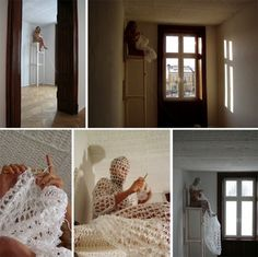Olek crocheting for her own body in the performance art piece Working Woman in White