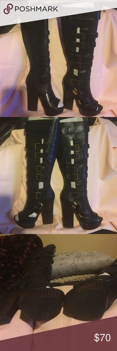 Open toe, 16 inch circumference. +plus size. Fly a$$ all leather platform boot! Never worn outside. Great for plus size ladies Nine West Shoes Heeled Boots
