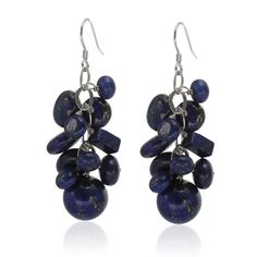 These sterling silver lapis lazuli multi shaped cluster drop earrings are the definition of beautiful. There are multi shaped lapis lazuli stones that dangle giving the earrings a stunning appearance.