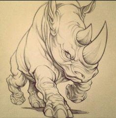 Original art from behind the scenes. Animal Sketches, Animal Drawings, Cool Drawings, Tattoo Sketches, Drawing Sketches, Tatoo Naruto, Rhino Tattoo, Rhino Art, Graffiti Drawing