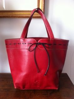 Authentic Kate Spade Red Leather Tote Handbag Purse With Polka Dot Suede Lining kate spade new york invites you to the manchester sidewalk sale! enjoy an additional 50% off select handbags