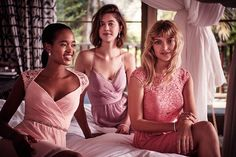 Choose one color family, like soft pastels, and dress your bridesmaids in a range of tones and styles. Discover more short bridesmaid dresses at David's Bridal.