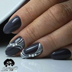 The Best Nail Art Designs – Your Beautiful Nails Grey Nail Art, Gray Nails, Glitter Nails, Stylish Nails, Trendy Nails, Grey Nail Designs, Classic Nails, Super Nails, Nagel Gel
