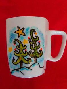 Handpainted mug with Christmas trees and snow. Perfect Christmas gift
