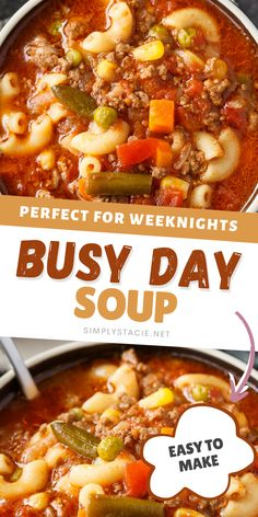 Busy Day Soup - Only 6 ingredients in this easy soup recipe filled with ground beef, noodles, mixed veggies in a tomato based broth. This recipe is a weeknight dinner winner!