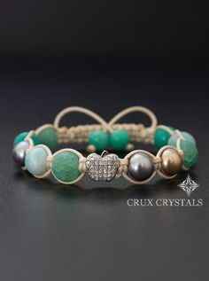 Silver Apple Natural Stone Beaded Bracelet Women's by CruxCrystals Handmade Bracelets, Beaded Bracelets, Bracelet Organizer, Silver Apples, Swarovski Pearls, Adjustable Bracelet, Stone Beads, Bracelet Making, Jewelery