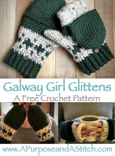 Crochet Hat Galway Girl Glittens- Free crochet pattern - Here is the free pattern for these beautiful and intricate Galway Girl Glittens. They are so comfortable and versatile, you're never going to want to wear plain old gloves or mittens again! Crochet Mitts, Crochet Mittens Pattern, Crochet Scarves, Crochet Baby, Free Crochet, Crochet Patterns, Crotchet, Hat Patterns, Knitting Patterns
