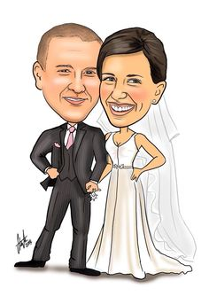 Wedding caricature Www.stephssketches.co.uk