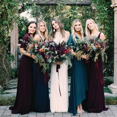 """496 Likes, 5 Comments - Green Wedding Shoes / Jen (@greenweddingshoes) on Instagram: """"Jewel tones for this bridesmaids FTW! Bridesmaids dresses are by @showmeyourmumu and wedding gown…"""""""