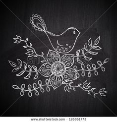Chalk drawing greeting card with cute bird on chalkboard blackboard by Markovka, via ShutterStock