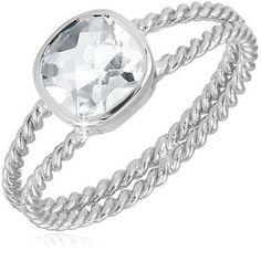 $19.99 - 1.5 Carat White Topaz Sterling Silver Split Shank Twist Band Ring