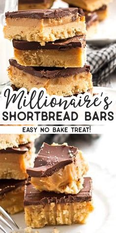 No-Bake Millionaire's Shortbread BarsYou can find Easy dessert bars and more on our website.No-Bake Millionaire's Shortbread Bars Mini Desserts, Easy No Bake Desserts, No Bake Treats, Delicious Desserts, Delicious Chocolate, Chocolate Desserts, Desserts Caramel, Fast And Easy Desserts, Easy No Bake Recipes