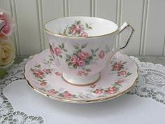 Vintage Aynsley Soft Pink Teacup and Saucer W/ Pink Rose