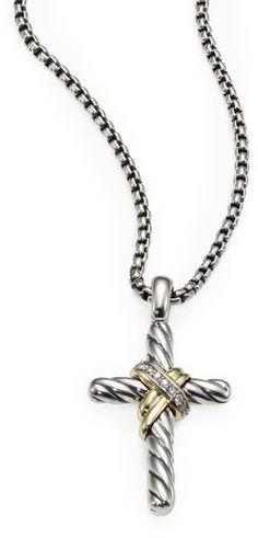 David yurman sterling silver 14k yellow gold cross necklace david yurman diamond 14k gold sterling silver cross pendant necklace in silver silver gold 495 aloadofball Images