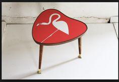 Vintage Flamingo Heart Table