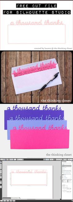 "free ""a thousand thanks"" cut file & a tutorial for how to make your own custom text cut file that says whatever you like in the font of your choice (by Lauren at The Thinking Closet) #Silhouette #Cameo"
