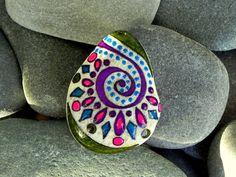 Bohemian Kaleidoscope / Painted Rock / Sandi by LoveFromCapeCod, $20.00