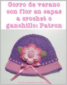 Gorro de verano con flor en capas para niña a crochet o ganchillo: Patrón