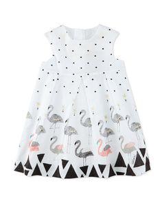 Z1N61 Catimini Sleeveless Pleated Poplin Polka-Dot Dress, White, Size 6M-3