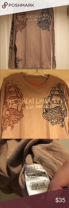 Great China Wall Men's Longsleeve Tee Selling my husbands Great China Wall Longsleeve T-shirt in size Medium, but definitely fits like a Large. He has worn it a lot but a great rare piece and hard to find. Color is a tan, best way to describe it. Retail was $250. Great China Wall Shirts Tees - Long Sleeve