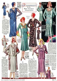 1930 afternoon or coattail dresses becoming longer and more modest.