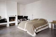 concrete floor bedroom