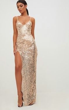 16813d92f112 Gold Strappy Sequin Maxi DressSlayy all day in this red carpet ready