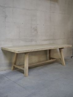 Belgian Bleached Oak Dining Table or Desk with Angled Legs